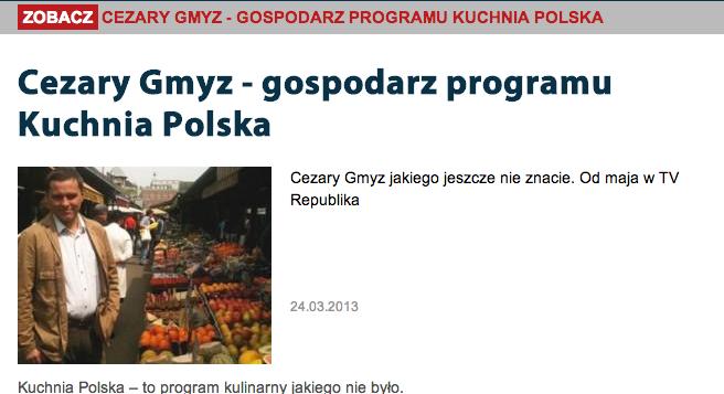 "Screenshot: Czareks neue Kochsendung ""Kuchnia Polska"""