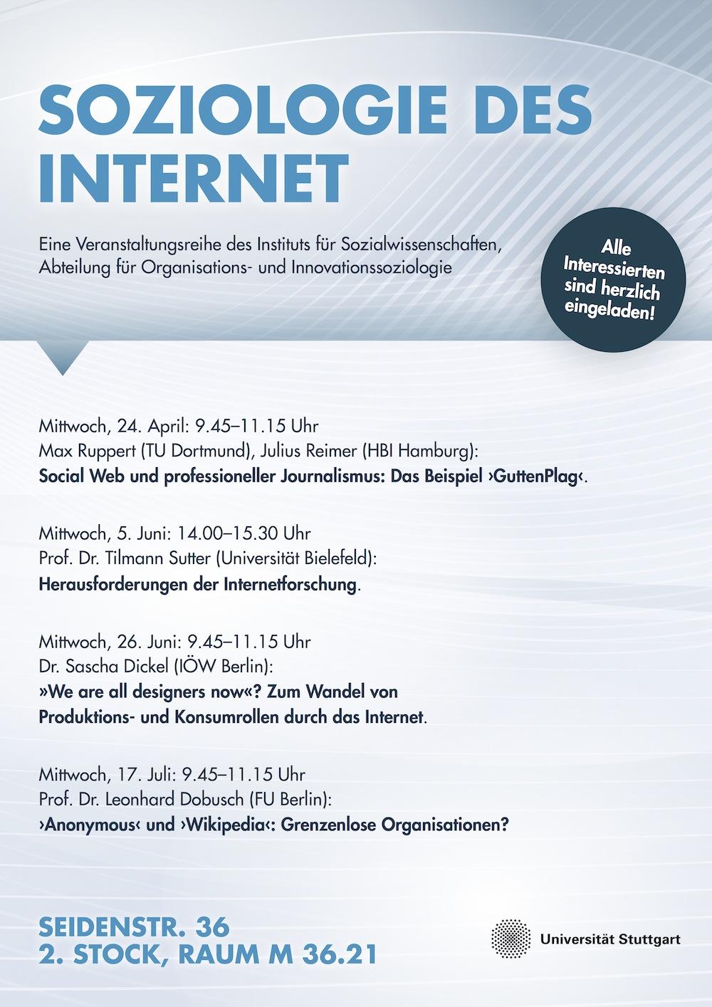"""Plakat zur Vortragsreihe """"Soziologie des Internet"""" an der Universität Stuttgart"""