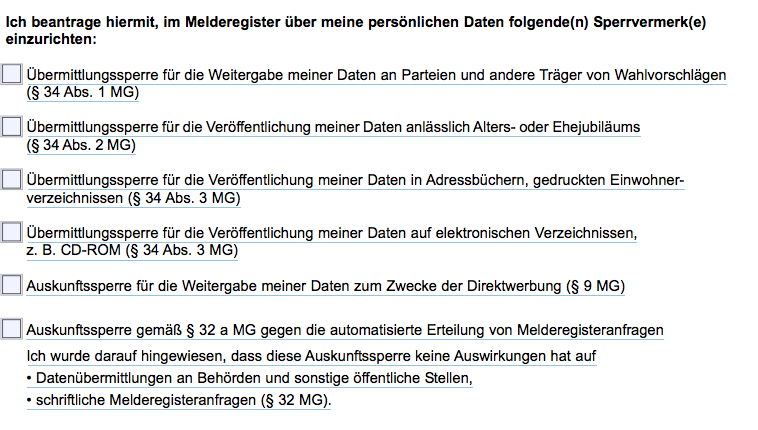 Screenshot Formular Auskunftssperre Stuttgart
