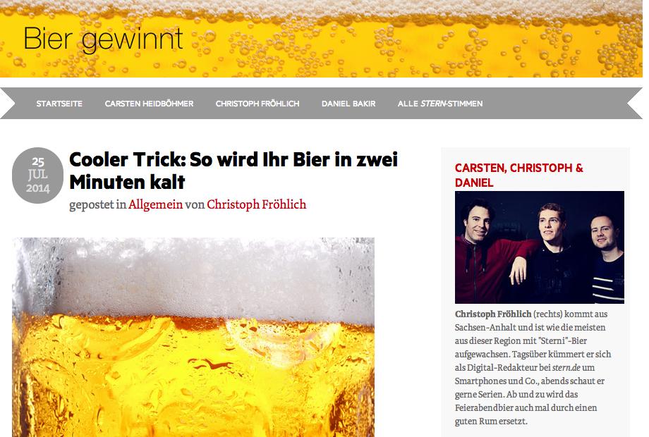 So haben sie mich geködert: Das Bier-Blog vom stern|Screenshot 27.7.2014